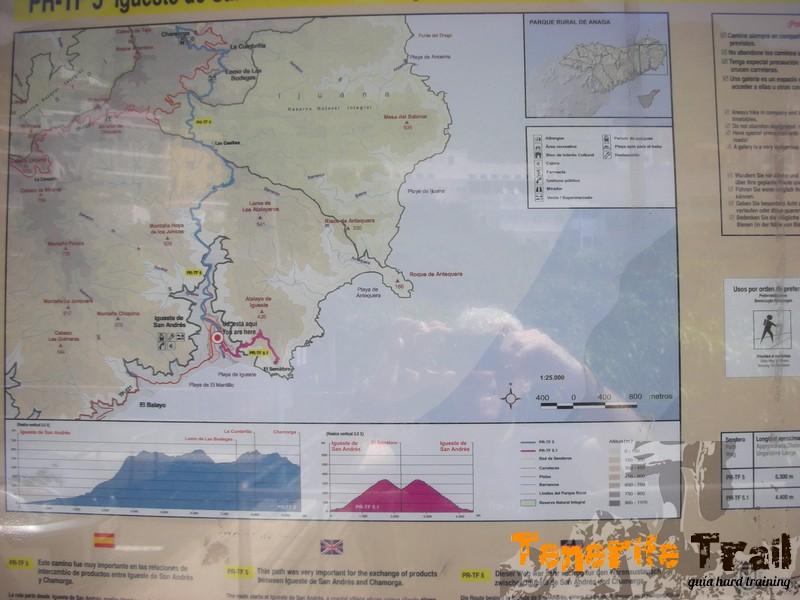 Detalle mapa sendero inicio ruta en Igueste