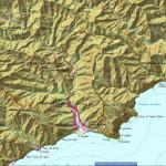Mapa topográfico de la ruta de Igueste-Playa de Antequera