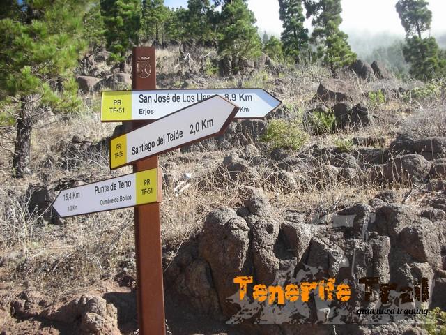 Cartelería desvío a Santiago del Teide